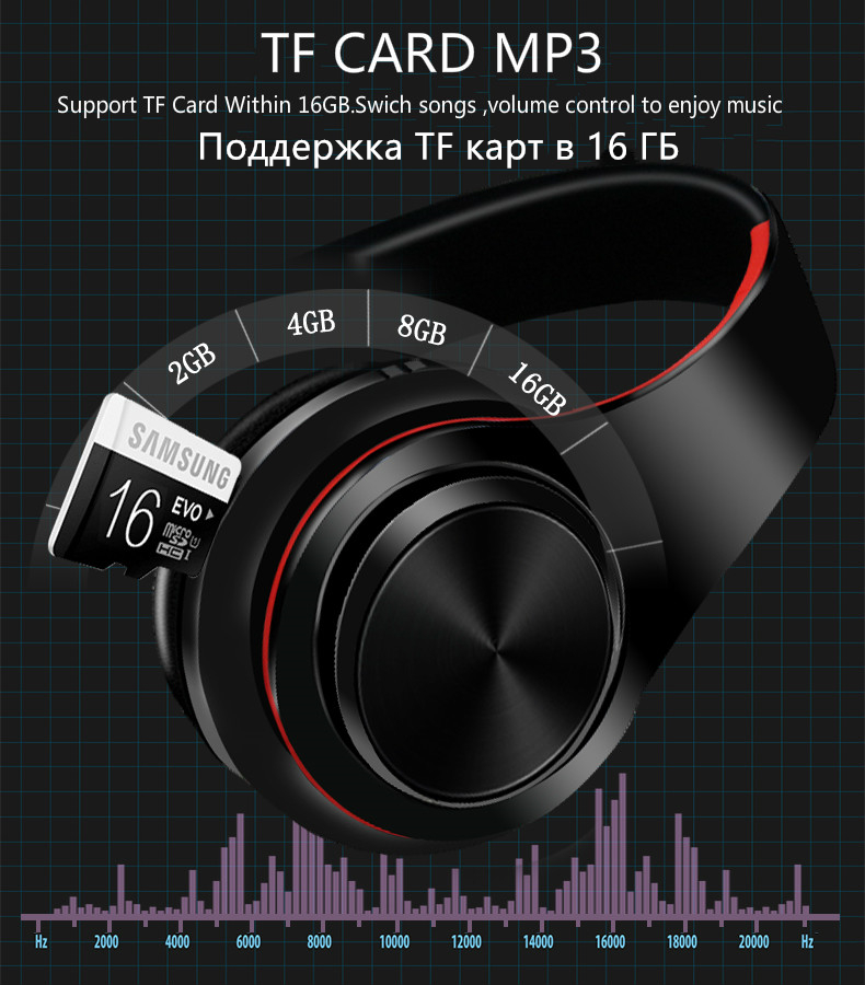 Foto of TF card MP3 Wireless foldable headphones with mic. Foldable wireless earphones for mp3
