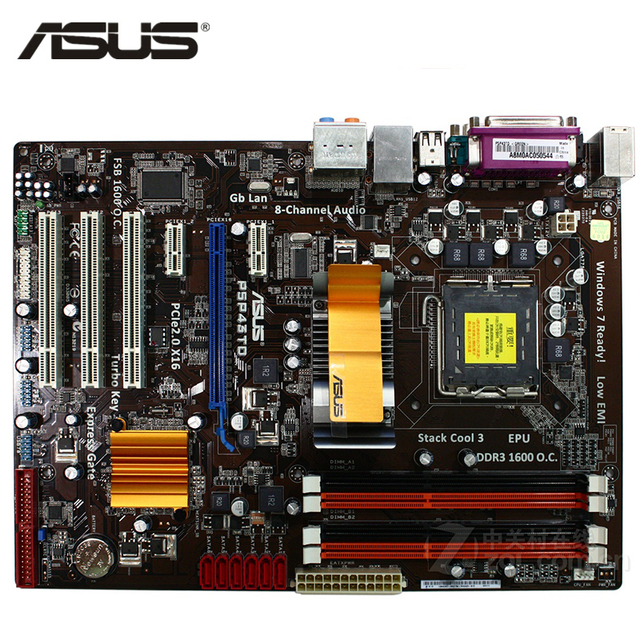 ASUS P5P43TD материнская плата LGA 775 DDR3 16 GB для Intel P43 P5P43TD Desktop Systemboard SATA II PCI-E X16 используется AMI BIOS