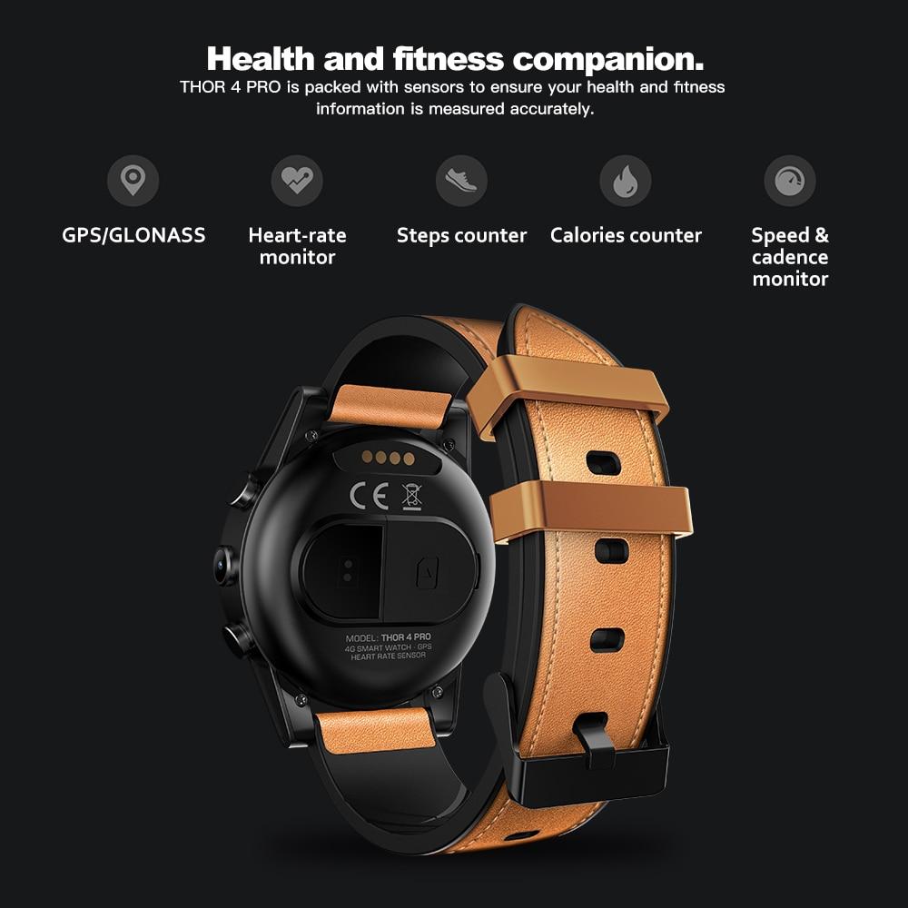 GPS WIFI Smart Watch Men Zeblaze THOR 4 PRO 4G SmartWatch SIM Bluetooth 4.0 16GB+1GB 5MP Camera 1.6 inch Crystal (8)