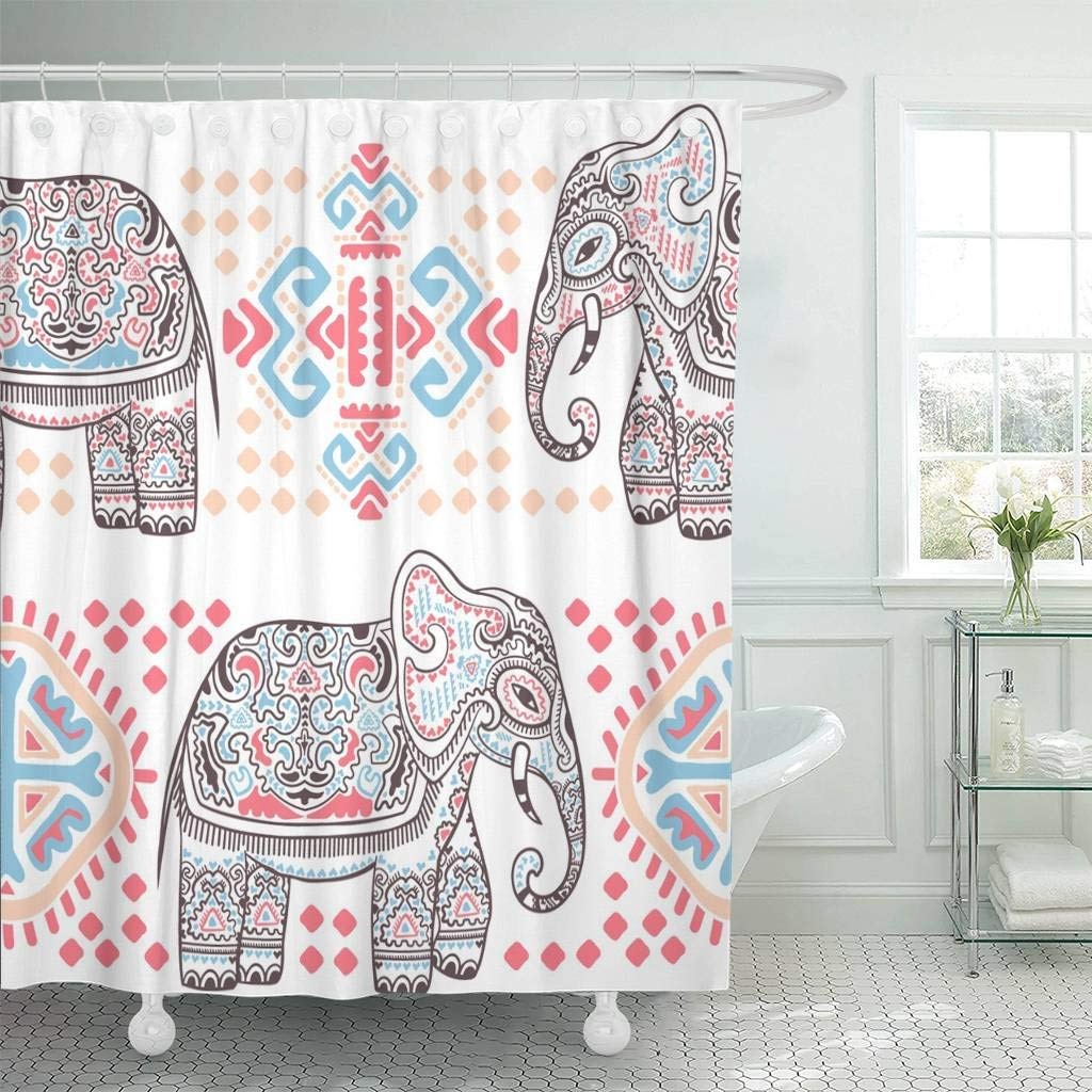 Fabric Shower Curtain With Hooks Bohemian Vintage Graphic