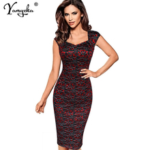 цена Sexy plus size Lace work office women dress elegant vintage Red Blue Summer dress bodycon wrap Casual clothes vestidos mujer New