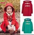 Varejo O Novo Inverno boi Chifre Botão de Lã Casaco de Pano Das Meninas Jaqueta Com Capuz