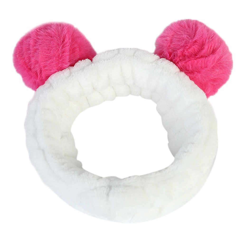 Женская пушистая эластичная резинка для волос полоса панда ухо Милая голова Милая повязка для волос HX0320