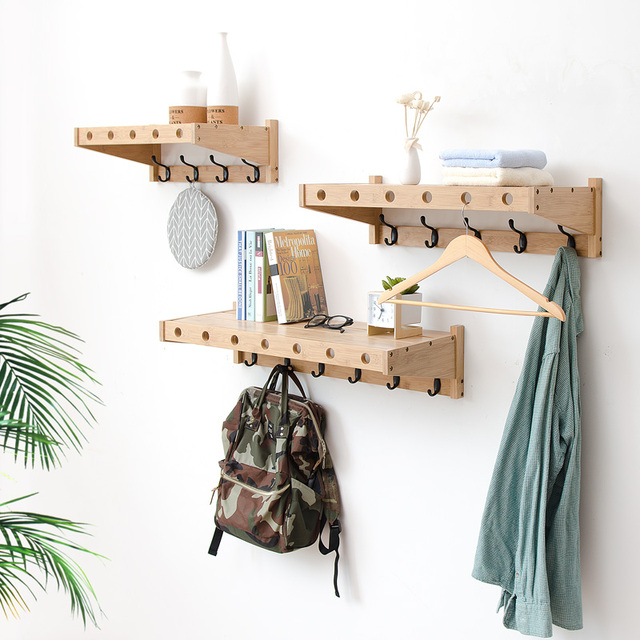 Modern Style Bamboo Coat Racks Hanging Hook Hanger Storage Wall Rack Solid  Wood Partition Creative Wall