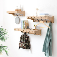Modern Style Bamboo Coat Racks Hanging Hook Hanger Storage Wall Rack Solid Wood Partition Creative Wall Decoration Frame