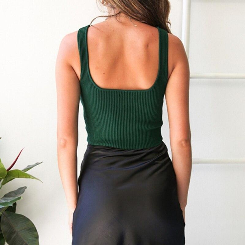 Summer Sleeveless Vest Top Women Basic Sexy U Neck Short Vest Plain Casual Bandage Stretch Clubwear Elegant Vest Short Tee 1