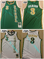 TBA Free Shipping 3 Allen Iverson Bethel High School All Stitched Green White Drop Ship Throwback