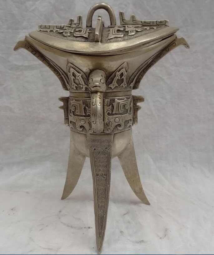 """10"""" Folk Chinese Silver Collect Dragon Head Statue Dynasty Wine Cup Set (B0413)"""