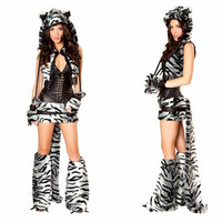 2015 Latest High Quality Black And White Leopard Dress With Shawl Tigers Halloween Costume Sexy Costumes