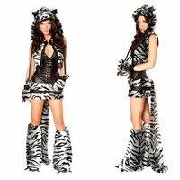 2017 nieuwe hoge kwaliteit zwart-wit luipaard jurk met sjaal Tigers dier spel jurk Kostuum sexy kostuums Halloween