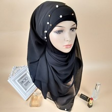 Simple Style Solid Color Muslim Turban Woman Hijab Beading Silk Popular Shawls Scarf Hijabs Headband 33 Colors Free Shipping