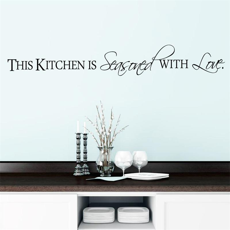 warm Kitchen With Love home decor wall sticker for kitchen quote decoration DIY mural art stickers free shipping