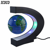 C Shape LED World Map Floating Globe Magnetic Levitation Light Antigravity Magic Novel Light Xmas Birthday