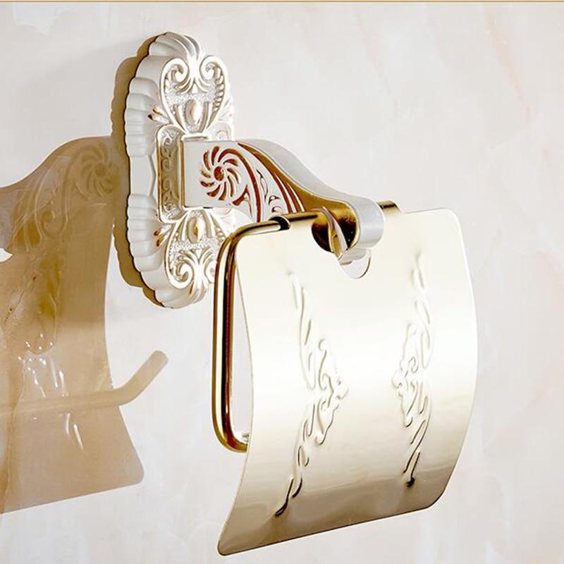Vidric antique bronze suspension carved paper towel rack Europe white bathroom paper holder toilet paper box toilet Accessores