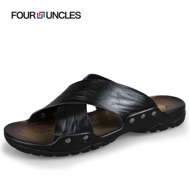 63392000285eb9 Summer beach slippers shoes Men s Genuine leather home flip flops casual  Soft handmade Brand Breathable sandals for male NX124