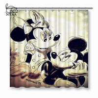 NYAA Mickey Shower Curtains Waterproof Polyester Fabric Bathroom Curtains For Home Decor