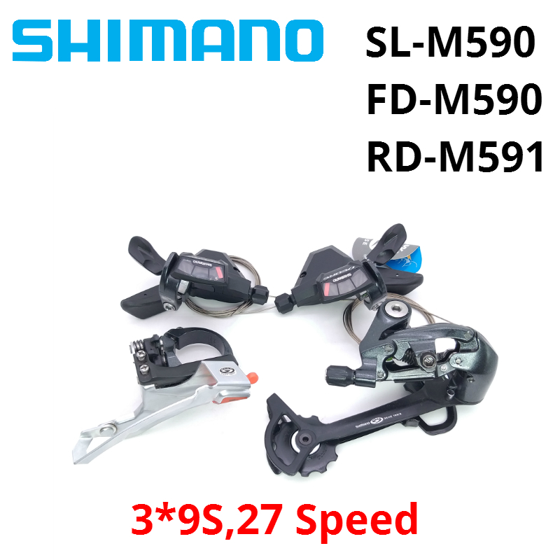 Shimano Deore M590 Derailleurs group contains SL-M590 FD-M590 RD-M591 3x9s 27 Speed 3pcs shifter levers Front Rear Derailleur