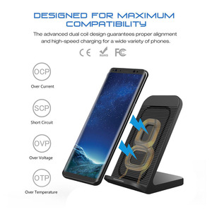 Image 2 - FDGAO Fast Qi Wireless Charger Quick Charge 3.0 USB 10W Fast Charging Stand with Cooling Fan for iPhone XR XS X 8 Samsung S10 S9