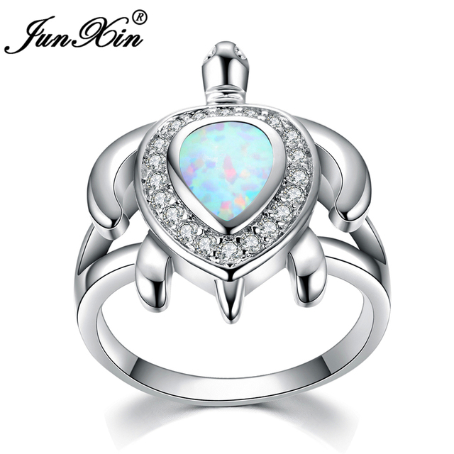 Junxin Brand Female White Fire Opal Ring Fashion Turtle Gold Filled Animal Jewelry Vintage Wedding