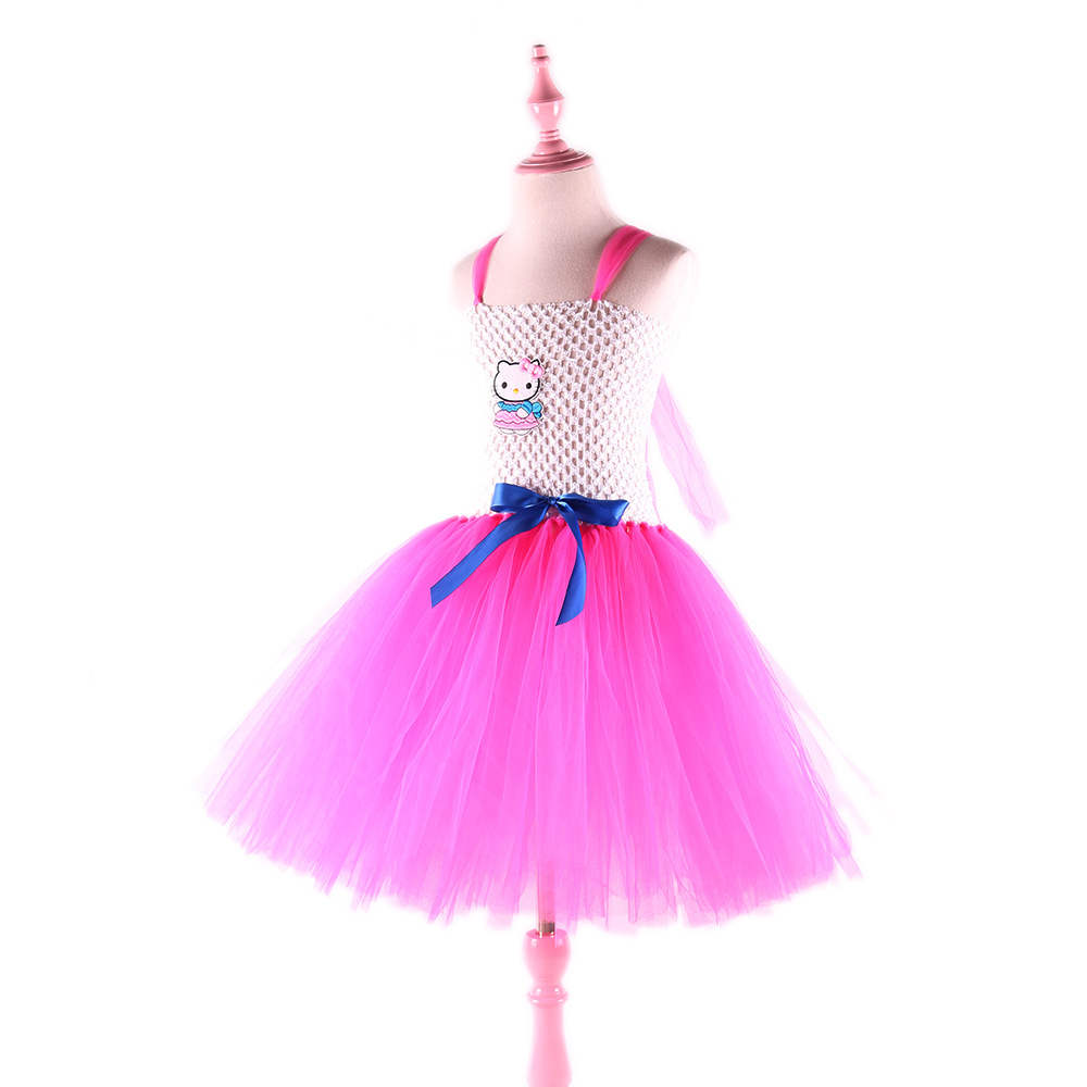 d38527620 Toddler Girls Summer Hello Kitty Tutu Princess Dresses Cotton Mesh Baby Girl  Cartoon Party Dress Children's Costume Kid Clothing-in Dresses from Mother  ...