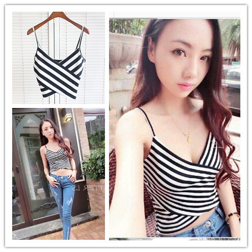 Stripe Striped Split Tie Back Crop Cami Top Women Casual Spaghetti Strap Bow Top Vest 2018 Summer Knot Beach Vest