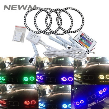 4pcs rings app rgb cob 60mm 70mm 80mm 90mm 95mm 100mm 110mm 120mm angel eye led halo ring led drl headlights auto led light 12v 60mm 66mm 72mm 75mm 80mm 90mm 100mm 120mm 125mm Car 5050 SMD RGB Flash LED Angel Eyes Halo Ring Daytime Running Light For BMW