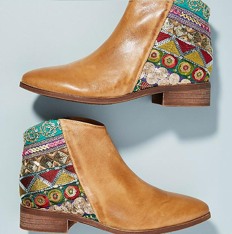 55923936ec546 De Pu Femmes Zapatos Chaussures Ta0112 Feminino Cuir Mi Éthique Mujer  Talons Bottes Bohême Cheville Sapato En Chunky Chaussons ...