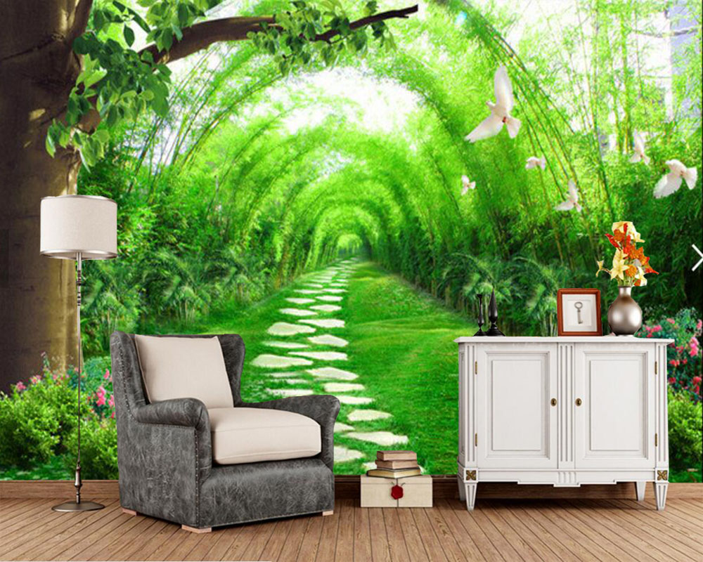 Fresh bamboo Road 3d photo wallpaper,living room TV sofa wall bedroom study room restaurant custom murals papel de parede