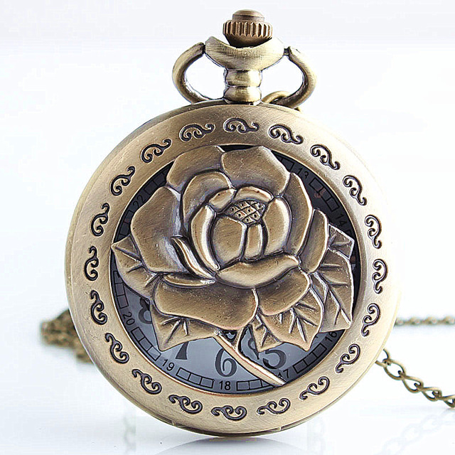 Exquisite Bronze Vintage Carving Rose In Full Bloom Hollow Quartz Pocket Watch Necklace Chain Women Lady Clock Gift TD2110