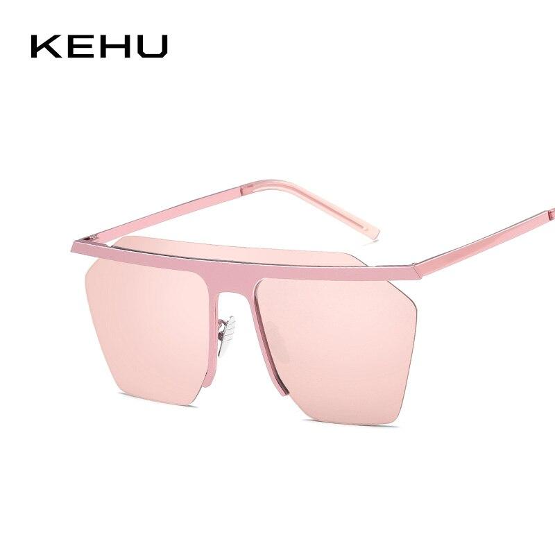 KEHU Womens Sunglasses Brand Designer Fashion Rimless Sun Glasses Men Gold Pink Blue Mirror Travel UV Shades Female Gift K9610