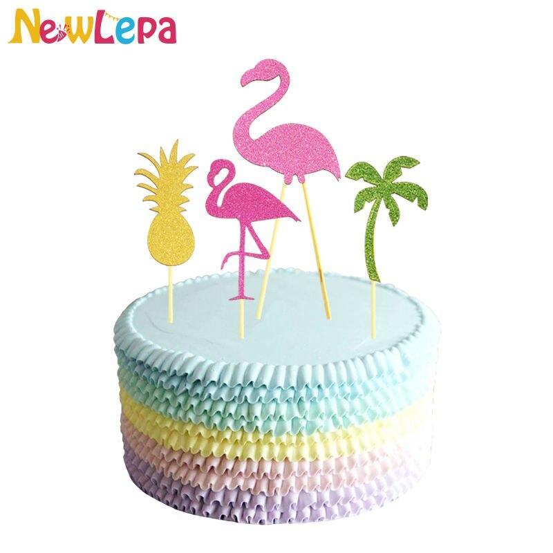 5pcs 파인애플 코코넛 플라밍고 컵케익 포장지 플라밍고 시리즈 생일 파티 컵 케이크 토핑 추천 웨딩 장식