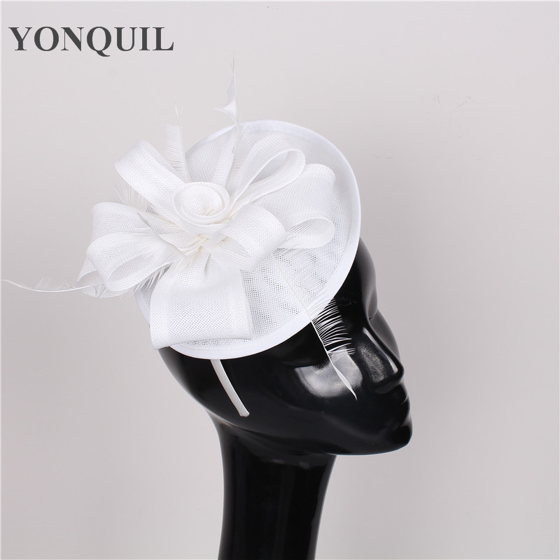 women imitation sinamay fascinator hats white cocktail hats bridal wedding headwear Derby occasion hat NEW ARRIVAL 17 colors