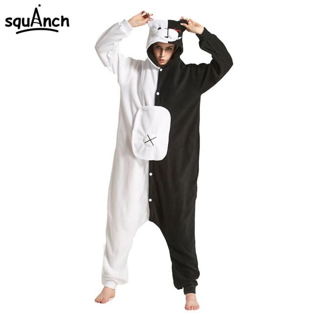 407686525b7b Black White Bear Kigurumi Animal Onesie Danganronpa Monokuma Pajama Women  Adult Cartoon Overalls Suit Polar Fleece