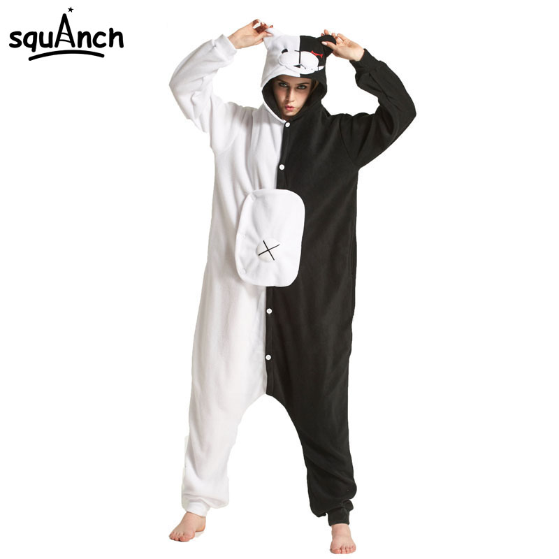 Черный белый медведь кигуруми животных Onesie Danganronpa Монокума пижамы для женщин взрослых мультфильм комбинезон костюм флис пижамы on Aliexpress.com | Alibaba Group