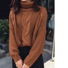 New Autumn Winter Turtleneck Sweaters Loose Women Crochet Knitted Pullover Korean Pink Yellow Beige Jumper Tops