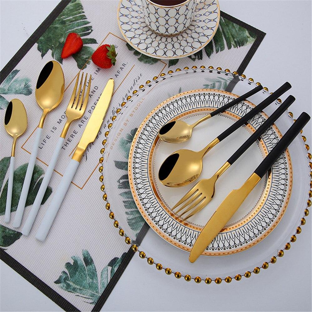 Chic 304 Stainless Steel Luxury Glossy Wood Tableware Set Silver Dinnerware Sets Western European Food Knife Fork Teaspoon 4PCS