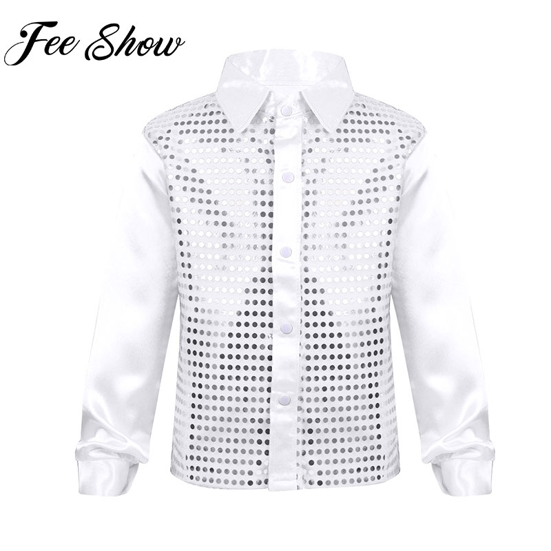 Shiny Kids Hip Hop Street Dance Tops Costume Boys Sequins Long Sleeve Spread Collar Shirt For Choir Jazz Gym Dancing Performance