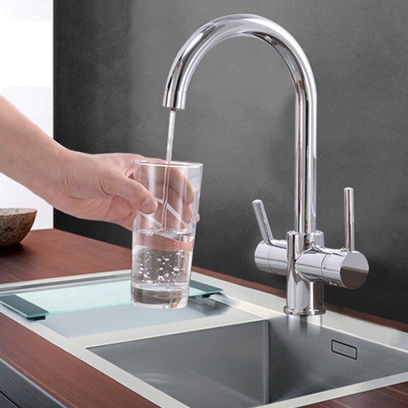 Очистка питьевой воды коснитесь бежевый и хром Кухня Раковина кран смеситель дизайн 360 градусов вращения фильтрованный кухонный кран