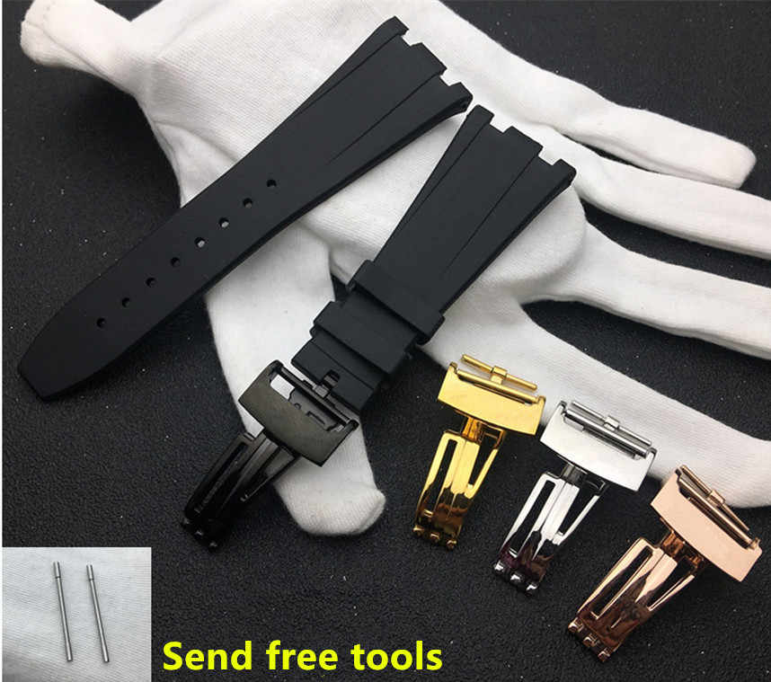 a9690c7e36f Top brand Black Silicone rubber Watchband For Audemars for Piguet Strap  28mm Watch AP Band Men s