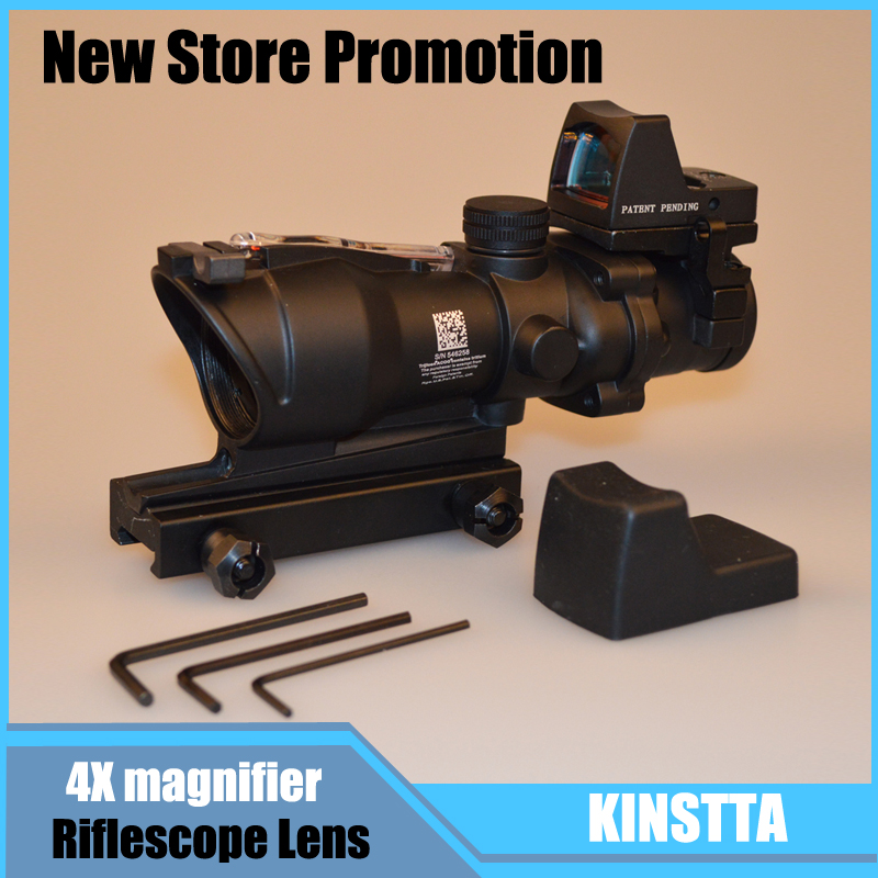 KINSTTA Rifle Military Lens Trijicon ACOG Style 4X32 Real Red Fiber Source Red Illuminated Rifle Scope w/ RMR Micro Red Dot tactical trijicon acog style 4x32 real fiber optics red illuminated crosshair scope w rmr micro red dot hunting riflescopes