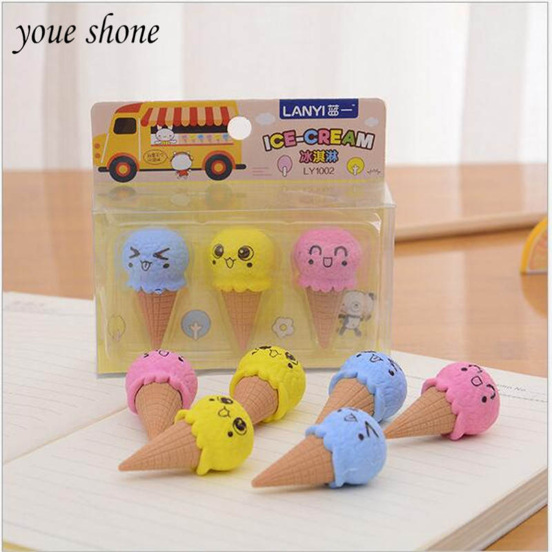 YOUE SHONE 1sets  Korean Stationery Erasers Set Cute Cartoon Ice Cream Donut Rubber Pencil Erasers For Girl