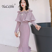 2019 Autumn Solid Mermaid Dress Women Purple Full Cloak Sleeve Slash Neck Ruffles Casual Wrap Office Dress Modis Gold Dresses cloak sleeve backless solid dress