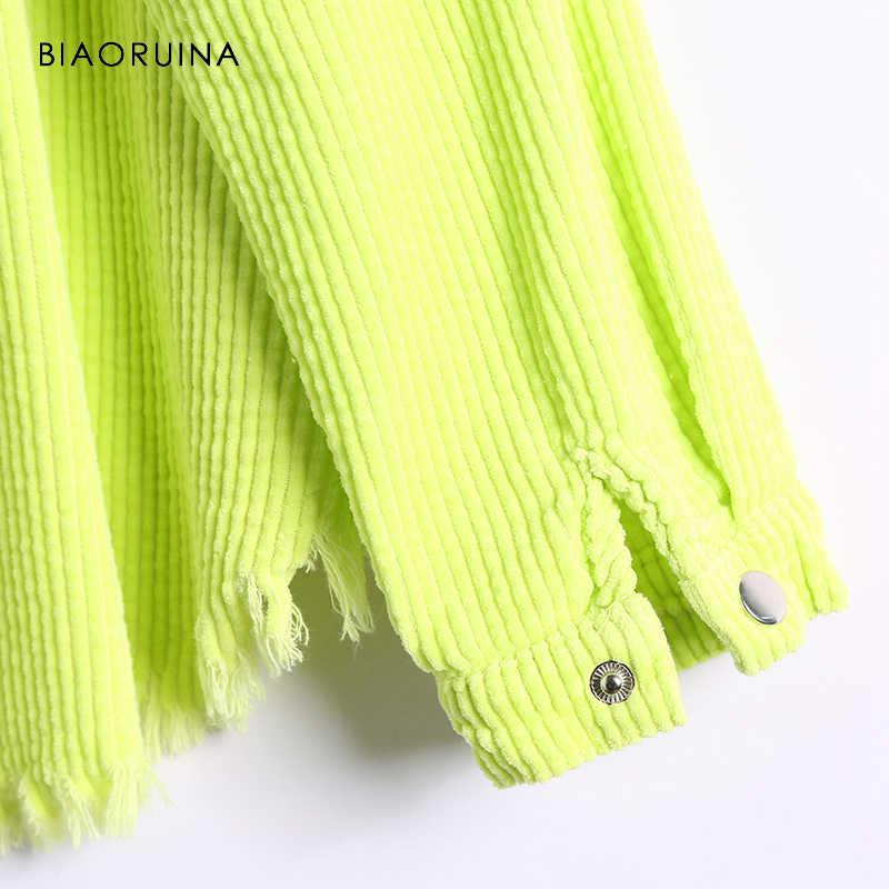 BIAORUINA Koreanische Stil Frauen Grün Cord Feste Jacke drehen-unten Kragen Weibliche Lose Safari Stil Jacke Mantel Tassles
