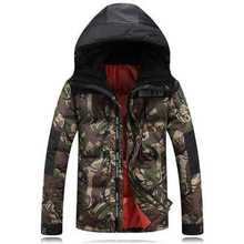 2016 Fashion Winter Hooded White Duck Down Men Jacket Thick Casual Warm Hoodies Coat for Man with Camouflage Pattern A4268