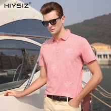 HIYSIZ New HOT Cotton Tshirts 2019 Streetwear Leaves Decorative Pattern Casual Turn-down Collar Mens Short Sleeve ST005