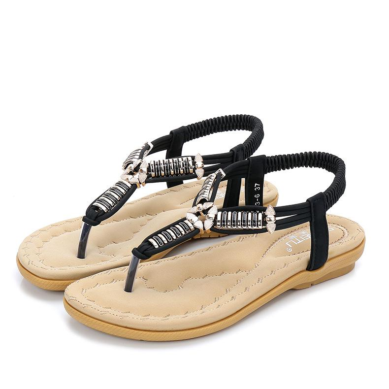Women Beach Flat Sandals Woman Fashion Metal Decoration Elastic Band Casual Sandals Flats Black White Comfortable Summer Shoes fongimic summer women flat shoes comfortable casual all match beach sandals high quality girl beach flowers elastic band sandals