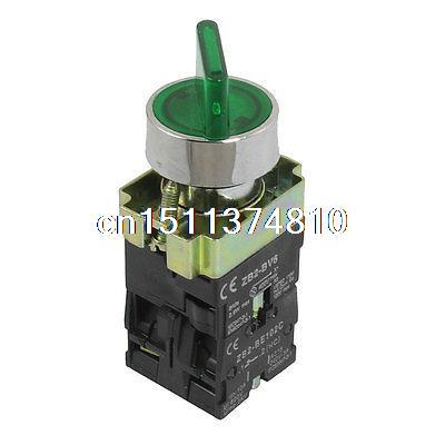 1 NO NC AC 400V Green Light 2 Postion Rotary Selector Switch 600V 10A ZB2-BK2365 1 no 1 nc three 3 positon rotary selector select switch latching 22mm