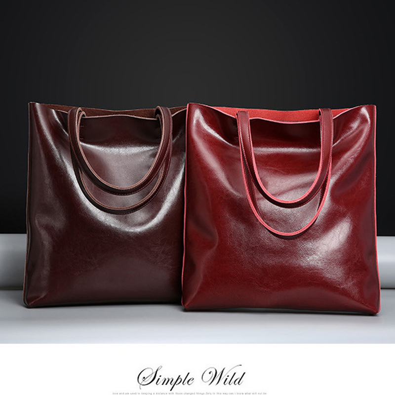Big Cow Leather Shoulder Bag Ladies Genuine Leather Bags for Women Famous Brand Designer Handbag Female