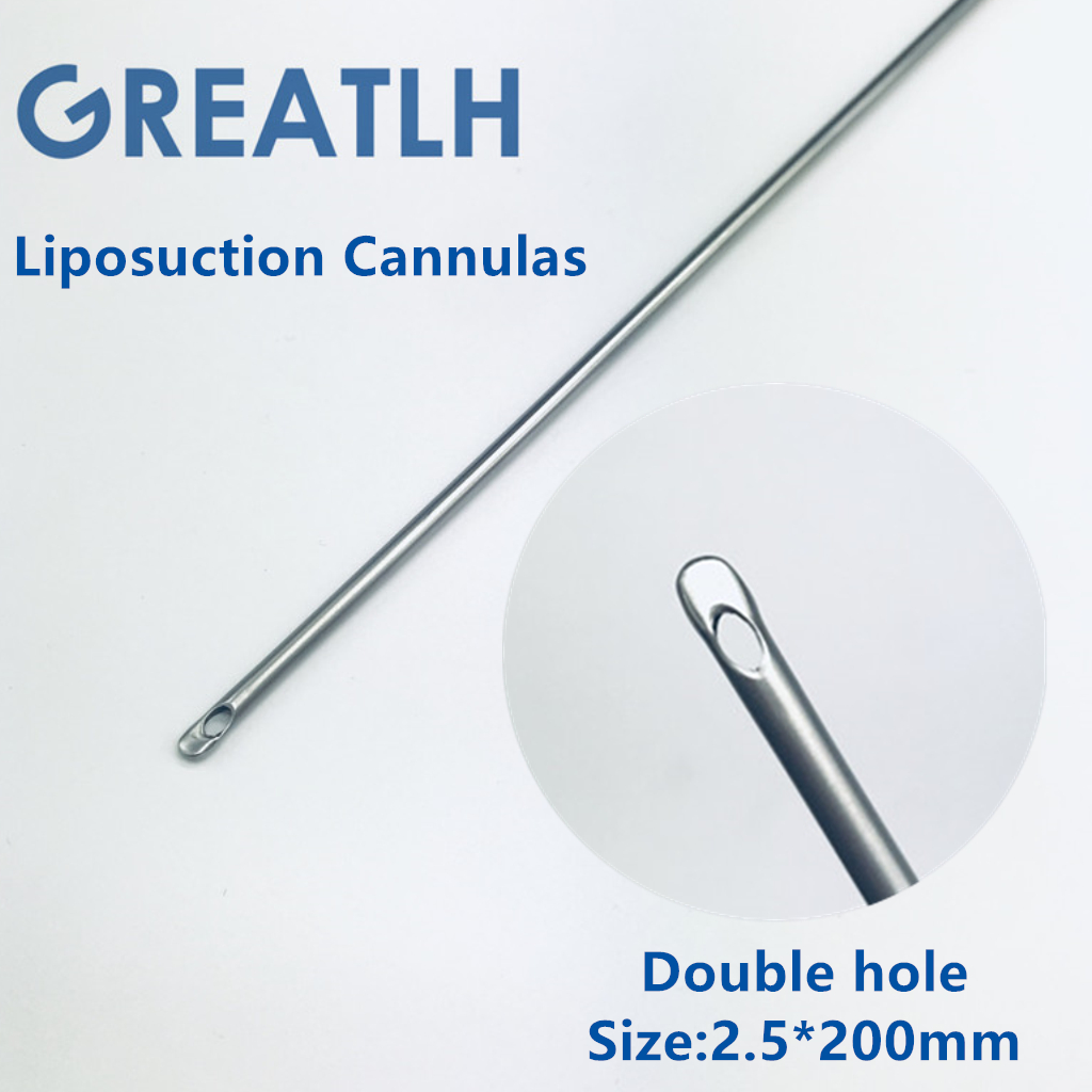 Double Hole fat harvesting cannula for stem cells liposuction cannula fat transfer needle aspirator for beauty