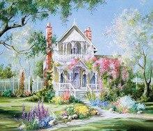 Diy Diamond Painting Cross Stitch Beautiful House & Garden Needlework Embroidery Full Round Mosaic Decoration Resin Kits